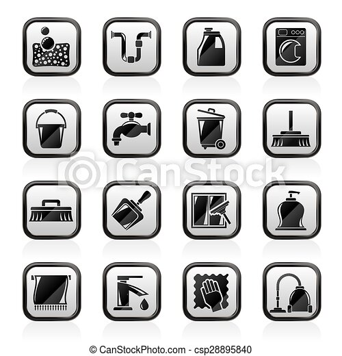 Cleaning and hygiene icons - csp28895840