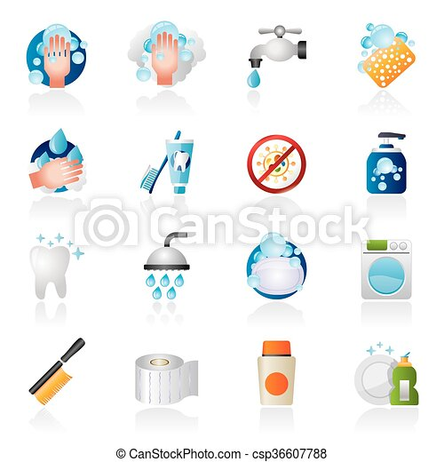 Cleaning and hygiene icons - csp36607788