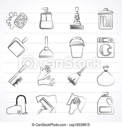 Cleaning and hygiene icons - csp18539815
