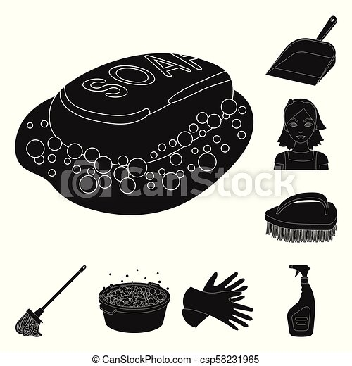 Cleaning and maid black icons in set collection for design. Equipment for cleaning vector symbol stock web illustration. - csp58231965