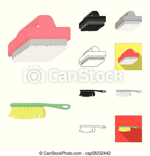 Cleaning and maid cartoon, black, flat, monochrome, outline icons in set collection for design. Equipment for cleaning vector symbol stock web illustration. - csp58232442