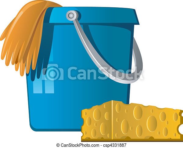 Cleaning: buckets, rubber gloves an - csp4331887