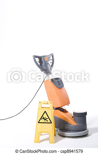 cleaning floor with machine - csp8941579