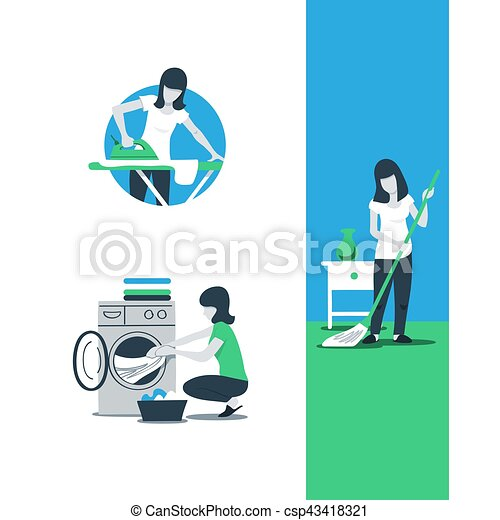 Cleaning House Services Woman Ironing House Work And Household