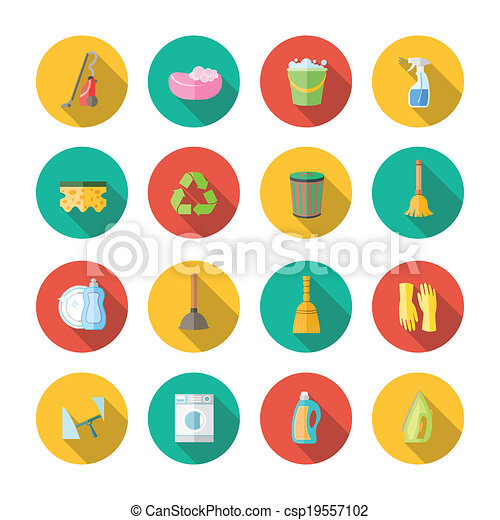 Cleaning Icons Flat Set - csp19557102
