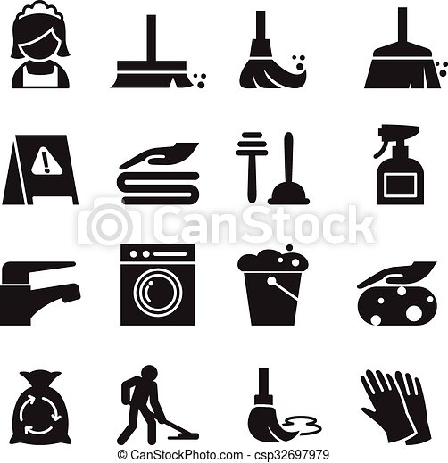 Cleaning icons set - csp32697979
