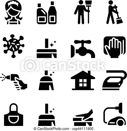 Cleaning icons set - csp44111900