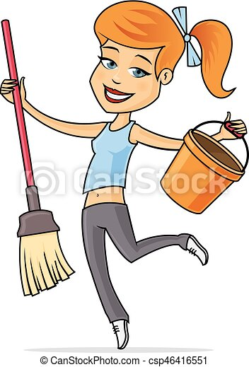 cleaning lady happy young woman with mop and bucket vector rh canstockphoto co uk cute cleaning lady clipart cleaning lady clipart free