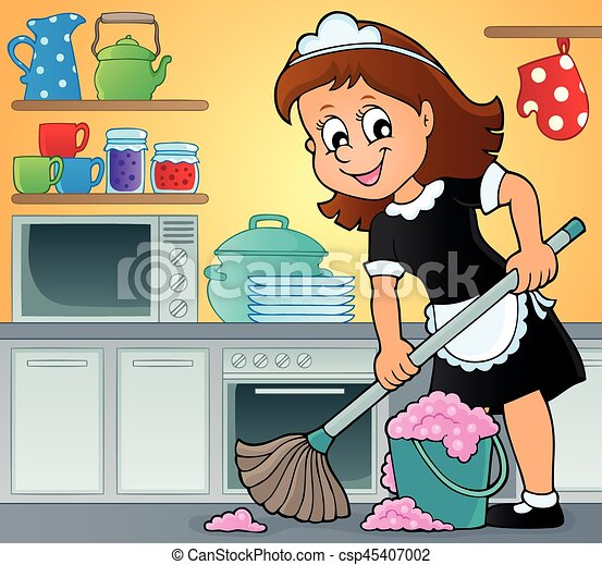 cleaning lady theme image 3 cleaning lady theme image vector rh canstockphoto com cleaning lady clipart free cute cleaning lady clipart