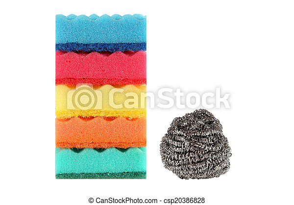 Cleaning products isolated on white background - csp20386828