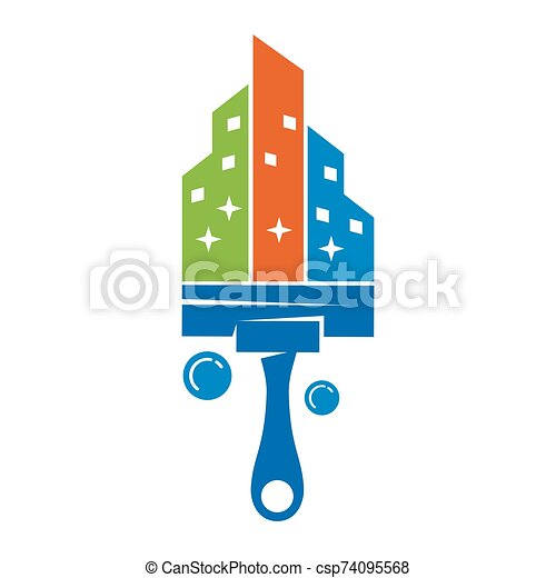 Cleaning Service Apartment Business logo design Template Vector