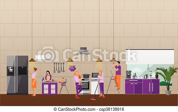 Cleaning Service Concept Vector Banner People Clean House Vector Clip Art Search