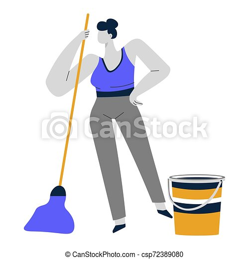 Cleaning service or housewife, woman mopping or sweeping floor - csp72389080