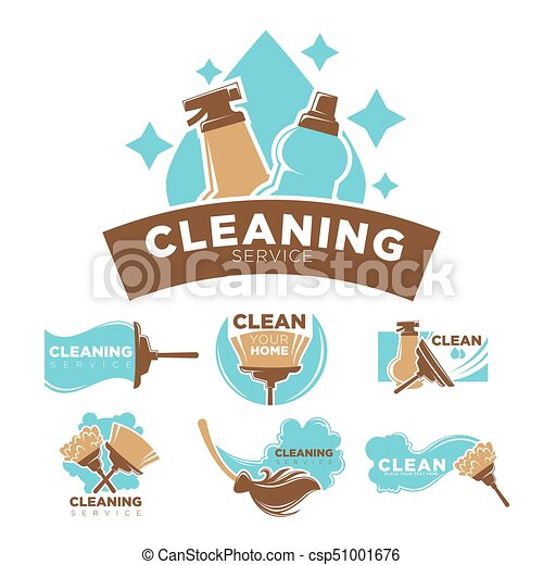 Cleaning service promotional emblems set with cleaners and equipment - csp51001676