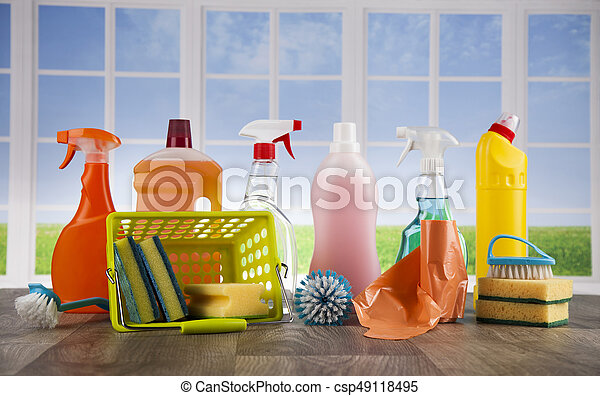 Cleaning supplies and window background - csp49118495