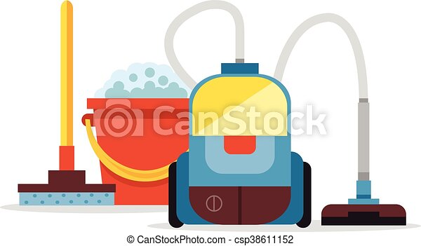 cleaning supplies and vacuum cleaner vector flat cartoon illustration rh canstockphoto com cleaning supplies clipart png cleaning products clipart free