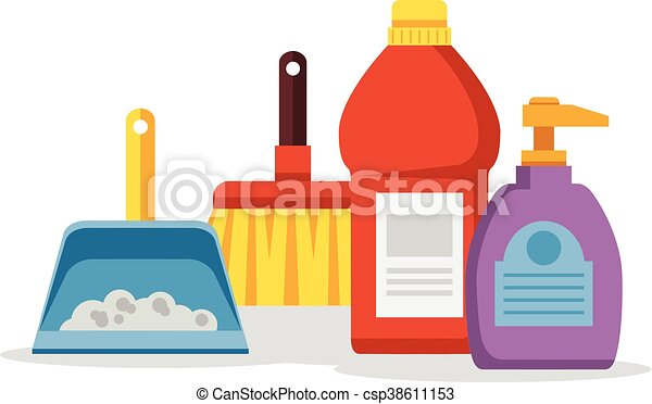 cleaning supplies vector flat cartoon illustration clipart vector rh canstockphoto com cleaning supplies clip art free cleaning supplies clipart black and white