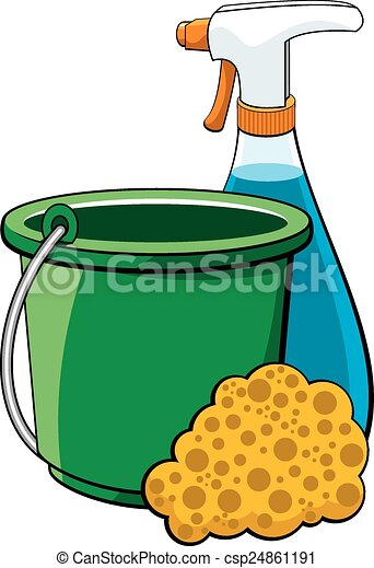 vector illustration of a collection of cleaning supplies eps vectors rh canstockphoto com cleaning products clipart cleaning products clipart free
