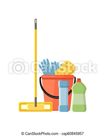 Cleaning supplies in flat cartoon style vector illustration isol - csp60845957