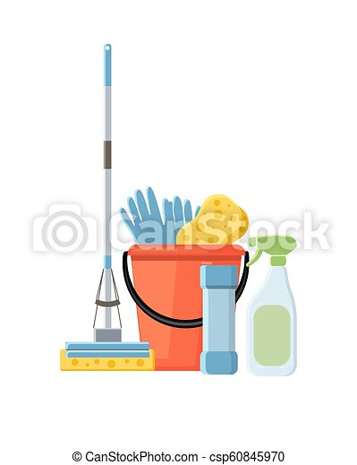 Cleaning supplies in flat cartoon style vector illustration isol - csp60845970