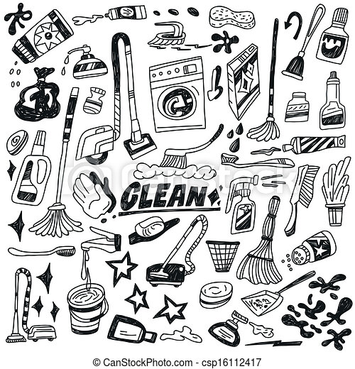 art tools drawing. vector - cleaning tools doodles art drawing