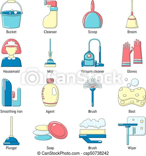 Cleaning tools icons set, cartoon style - csp50738242