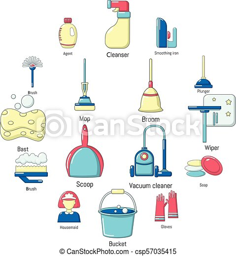 Cleaning tools icons set, cartoon style - csp57035415