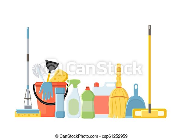 Cleaning tools in flat cartoon style vector illustration isolate - csp61252959