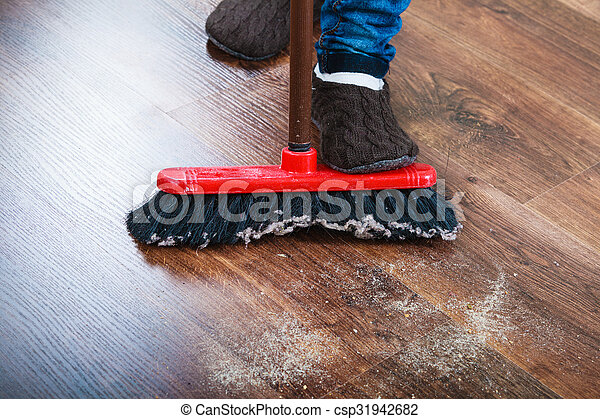 Cleanup Housework Concept Closeup Broom And Female Foots Cleaning