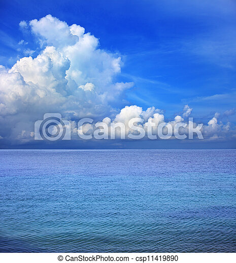 clear blue sky white cloud and sea - csp11419890