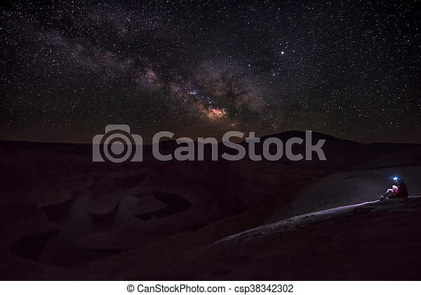 Clear bright night over lake Powell - csp38342302