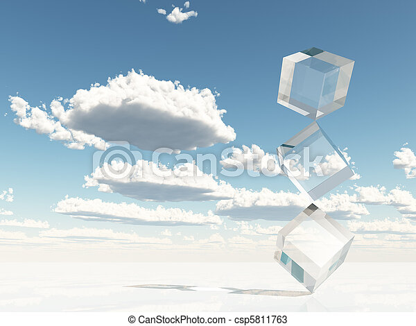 Clear Cubes Stacked on Corners - csp5811763