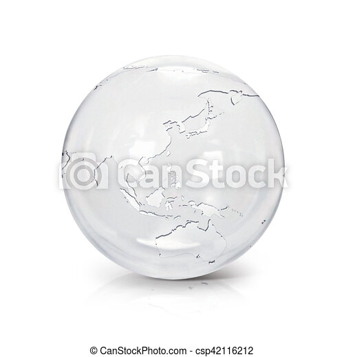 Australia Map Globe.Clear Glass Globe 3d Illustration Asia Australia Map