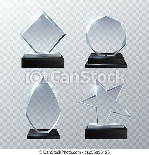 Clear Glass Trophy Awards Isolated On Transparent Background Vector Set