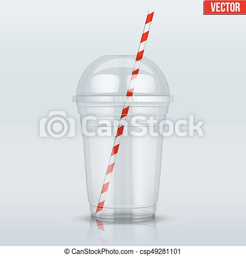 Clear plastic cup with sphere dome cap and tube