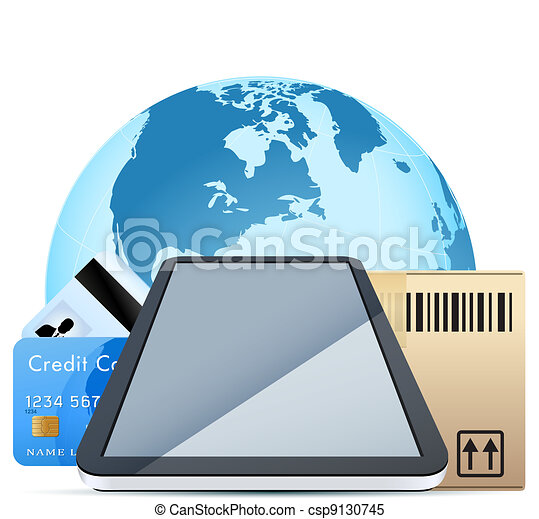 Clear Touch Pad Personal Computer with Cardboard Box and Bank Cards over Earth Globe isolater on white background - csp9130745