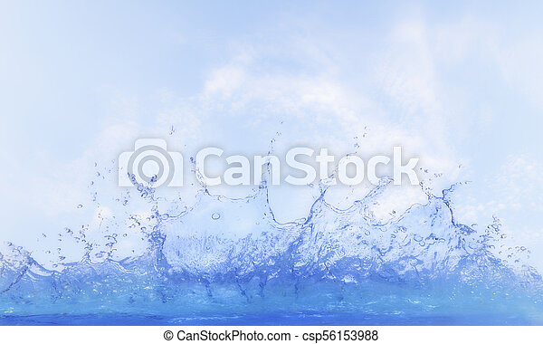 clear water splashing against blue sky ,white day light cloud - csp56153988