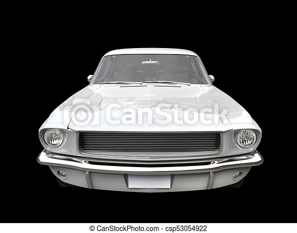 Clear White Vintage American Muscle Car Front View