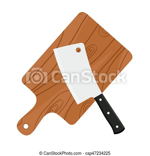 Cleaver, butcher's sharp knife for chopping meat with cutting board - csp47234225