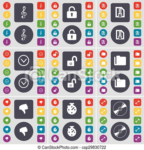 Clef, Lock, ZIP file, Arrow down, Folder, Dislike, Stopwatch, Disk icon symbol. A large set of flat, colored buttons for your design. Vector - csp29830722