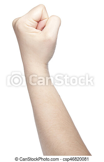 Clenched Fist A Symbol Of Strength And Violence Isolated On White