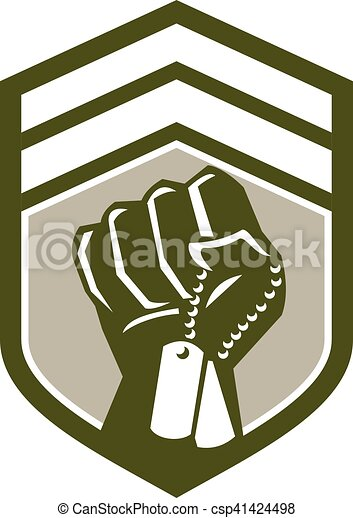 Clenched Fist Dogtag Crest Retro - csp41424498