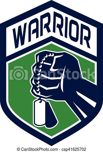 Clenched Fist Dogtag Warrior Crest Retro - csp41625702
