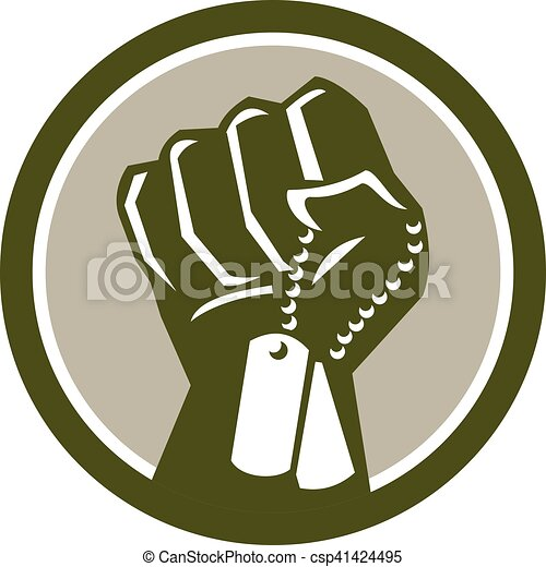 Clenched Fist Holding Dogtag Circle Retro - csp41424495
