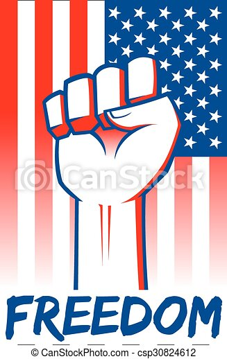 Clenched fist on american flag. Hand clenched for freedom ...