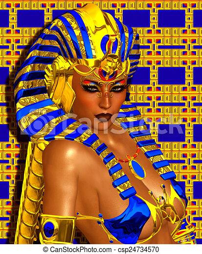 Cleopatra or Egyptian Woman Pharaoh - csp24734570