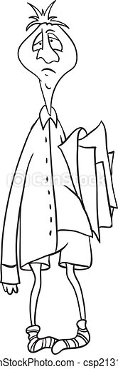 clerk with a folder of papers, vector illustration - csp21315518