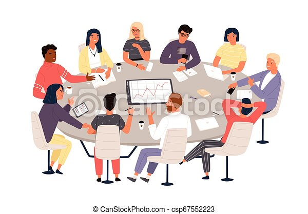 Clerks or colleagues sitting at round table and discussing ideas or brainstorming. Business meeting, formal negotiation, conference, group discussion. Vector illustration in flat cartoon style. - csp67552223
