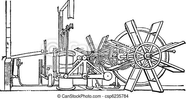 Clermont Steam Ship Paddle Wheel Unit vintage engraving - csp6235784