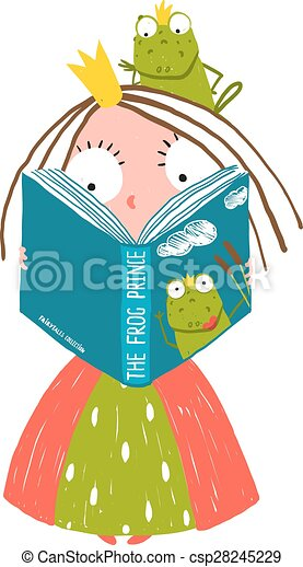 clever little princess reading fairy tale with prince frog vector rh canstockphoto com Princess Mirror Clip Art Princess and Knight Clip Art and Graphics